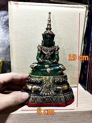 Seated Thai Emerald Buddhist Statue Meditation Amulet Deity Green Old Gold Armor