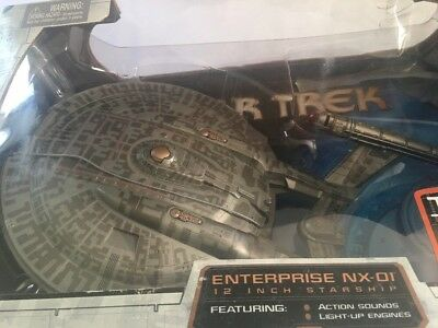 STAR TREK ENTERPRISE NX-01 Art Asylum 12 Inch Starship Sound and Lights NEW