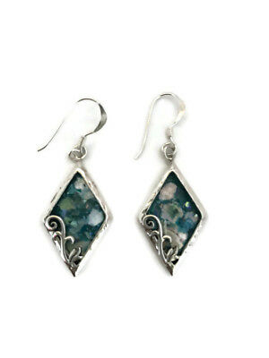 Antique Roman CB Glass 200 Ancient Sterling Silver 925 Earrings Jewelry Fragment