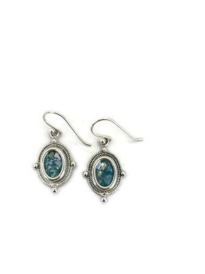 Glass Silver Roman 925 200 Ancient CB Sterling Fragments Earrings Antique Oval