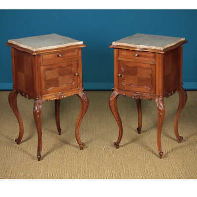 Antique Pair of Walnut & Marble Top Bedside Cabinets c.1910.