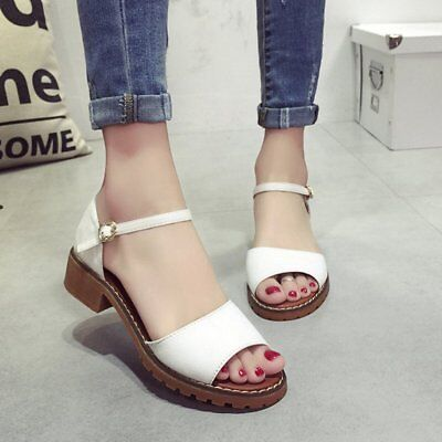 Summer Women Peep Toes Shoes Ankle Strap Sandals Elegant Chunky Heels Shoes KM