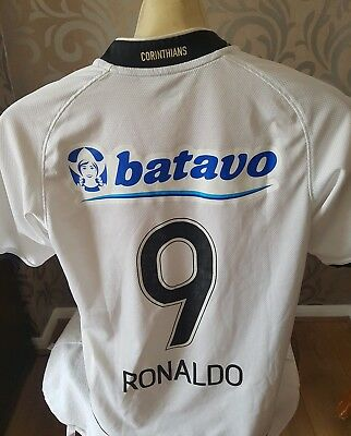 Corinthians ORIGINAL Football Shirt Jersey RONALDO 9 Nike 2009 2010 Small white