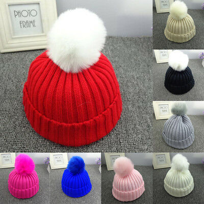 Kids Toddler Child Warm Knit Beanie Hat Boys Girls Fur Pom Bobble Crochet Cap RD