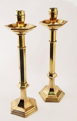 Pair 19c Antique Large and Heavy Brass Ecclesiastical Church Altar Candlesticks
