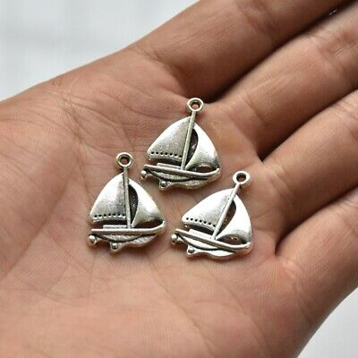 10X Tibetan Silver Sailing Boat Charm Pendant For DIY Bracelet/Earrings/Necklace