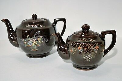 Vintage Set of 2 Redware Brown Betty Teapot Handpainted Made in Japan