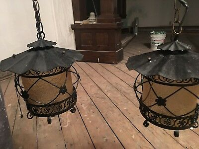 Vintage Wrought Iron Spanish/Goth Ceiling/Hanging/Swag Light/Lamps Working 1950s