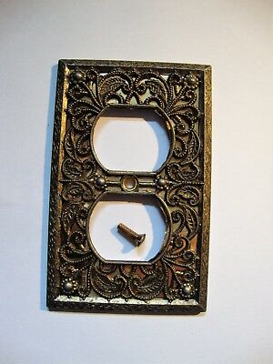 """Vintage Brass Outlet Cover 2-7/8"""" X 4.5"""" With Backing & Screw"""
