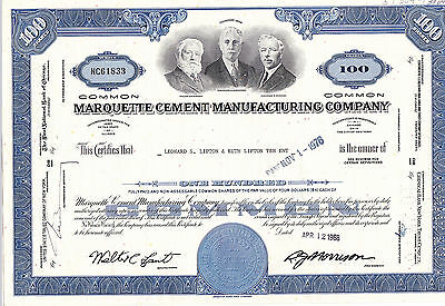 Marquette Cement Manufacturing Company-100 shares von 1968