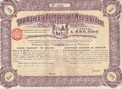 The Rambla Company of Monte Video Limited-share Warrant to Bearer-1911
