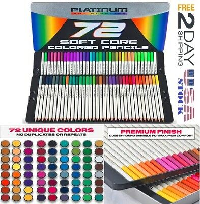 Platinum Soft Core Colored Pencils With Tin Case, Pack of 72, new