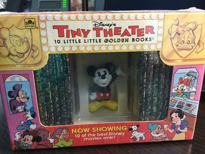 NEW 1993 Disney's TINY THEATER 10 Mini LITTLE GOLDEN BOOKS & Mickey Mouse Figure