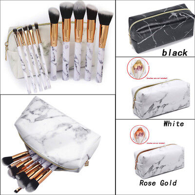 Women Marble Travel Make Up Cosmetic Fashion Multifunction Makeup Brush Bag id