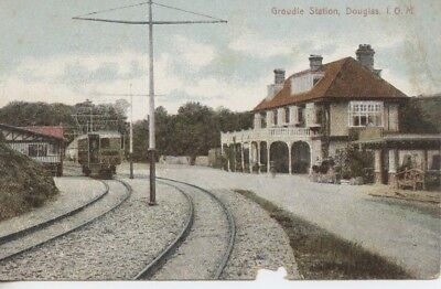 Postcard Groudle Glen Train Station Hotel IOM Manx Electric Railway Depot 1910