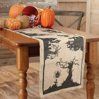 14 x 74 Inch Halloween Burlap Table Runner Black Spider Tassel Tablecloth
