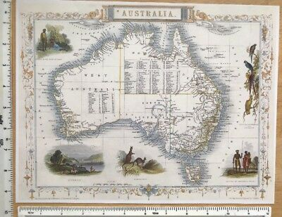 "Antique vintage colour map 1800s: Australia by John Tallis 12 X 9"" Reprint"
