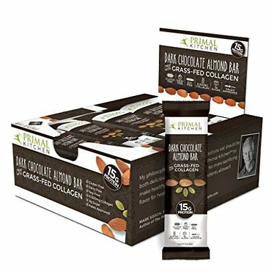 Primal Kitchen - Dark Chocolate Almond Collagen Protein Bars, 12 Grams of Paleo
