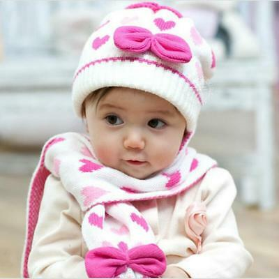 Winter Baby Girl Heart Knitted Hat Scarf Set For Children Warm Soft Clothing New
