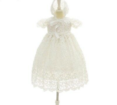 Baby Girl Baptismal Dress Elegant Lace Floral Pattern Comfy Breathable Wears New