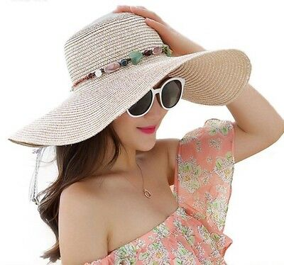 Women's Summer Sun Hat With Stone Handmade Design Casual Beach Outdoor Accessory