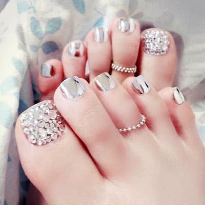 Foot False Artificial Nails Rhinestones Metallic 24 Pieces/Set Elegant Accessory