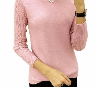 O-Neck Sweater For Ladies Flat Knitted Cotton Long Sleeve Fashion Solid Pullover