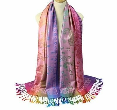 Ladies Scarves With Tassel Double Sided Printed Design Winter Autumn Warmer Wrap