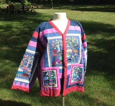 HMONG story cloth JACKET Paj Ntaub embroidered Coat animals trees HAND STITCHED