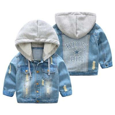 Kids Denim Jacket For Spring Fashionable With Hood Coat Boys And Girls Outerwear