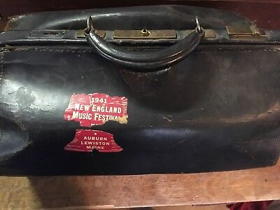 Antique Leather Medicine Doctor Carry Bag Likely Co With 1944 Music Decal