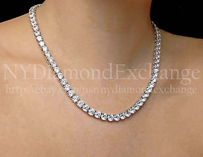 "24"" Created Diamond Tennis Necklace 80.00tcw Round 925 Solid Sterling Silver 6mm"