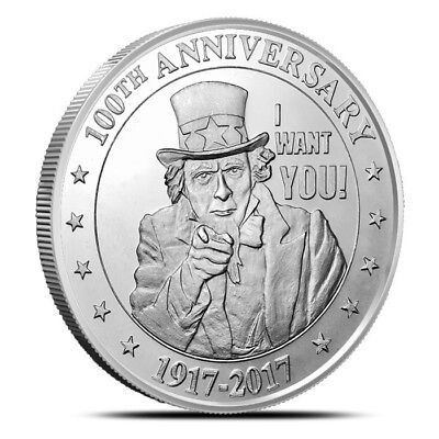 1 - 1 oz .999 Silver Round - Uncle Sam Wants You - 100th Anniversary - BU - New