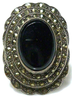 Art Nouveau Deco Sterling Silver Onyx Marcasite Womens Old Shield Ring Size 5.25