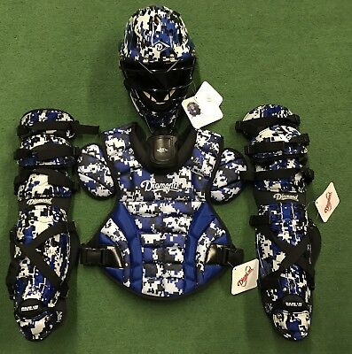 Diamond iX5 Camo Youth 9-12 Catchers Gear Set - Royal Blue Camo