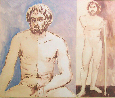 1950s Signed Male Nude Mid Century Original Painting California Artwork CRACKED