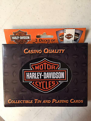 HARLEY-DAVIDSON Playing Cards in COLLECTIBLE TIN -2 Decks, Casino Quality
