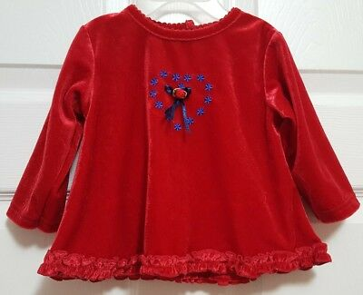 Infant Baby Girls Red Velvet Christmas Dress 6 to 9 Month by Cradle Togs