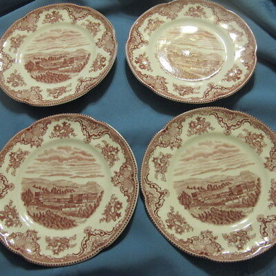Set Of4 Johnson Bros Pink Transfer Ware Old Britain Castles 8'' Salad  Plates