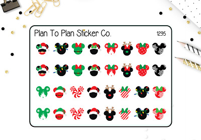 1295-S~~Christmas Mickey & Minnie Mouse Planner Stickers.
