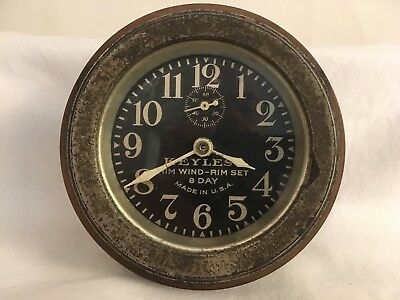 Antique Keyless 8 Day Clock Rim Wind Rim Set Sets And Keeps Time Early 1900's
