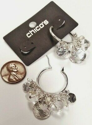 Chico's Silver Hoop Dangling Charms Hippie Boho Earrings On Retail Card V219