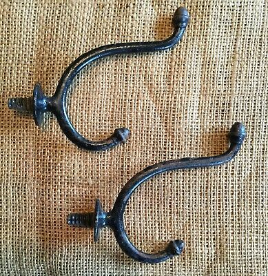 Vtg Antique Large Double Acorn Tip Metal Cast Iron  Hook Hanger Pair Set Of 2