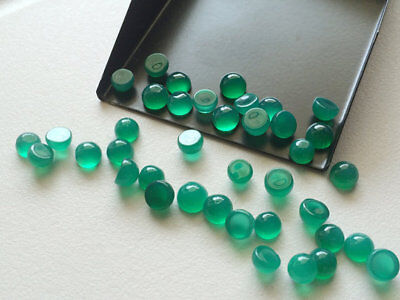 3X3mm To 10X10mm 100% Natural Green Onyx Round Cabochon loose Gemstone -NATURAL