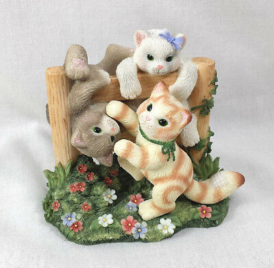 Calico Kittens Figurine Just Hangin Around Limited Ed Enesco Fence Flowers Cats