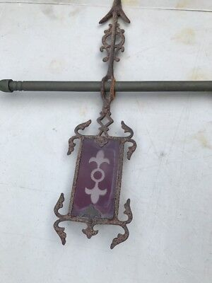 Antique Cast Iron Lightning Rod Directional Original Ruby Red Cut To Clear Glass