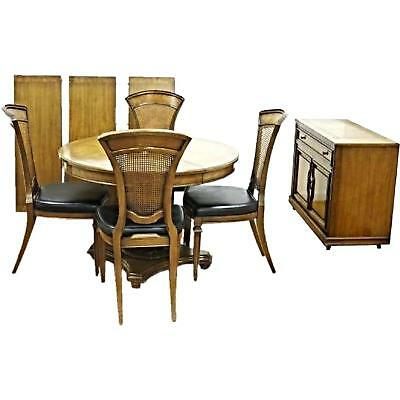 1960 Dining Set Round Extension Table Chairs Server Buffet Bar Sideboard Vintage