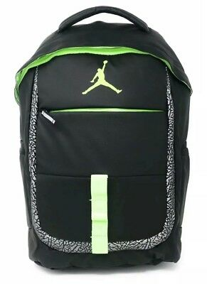 1948175f0fae0b NIKE AIR JORDAN Jumpman School Backpack Book Bag Gym Black Ghost Green NWT