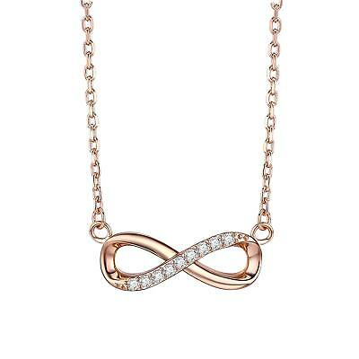 F.ZENI 925 Sterling Silver Necklace Infinity Forever Love Pendant Offer 18K Yell