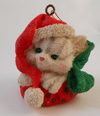 Xmas Ornament Resin White Kitten in Red Hat and Green Bow